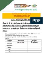 Tareas 1° Del 24 al 27 de septiembre 2019
