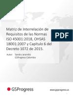 Referencia cruzada ISO 45001 OHSAS 18001