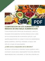 Composicion de Los Alimentos y Los Riesgos de Una Mala Alimentacion