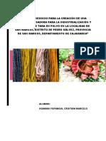Plan Den Negocio Para La Creación de Una Planta Procesadora Para La Industrialización y Obtención de Tara en Polvo en La Localidad de San Marcos
