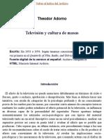 Theodor Adorno (1954) Televisión y cultura de masas