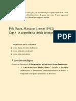 A EXPERIÊNCIA VIVIDA DO NEGRO - CAPÍTULO 5 DE PELE NEGRA MÁSCARAS BRANCAS, DE F. fANON