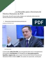 Aras Designa Aílton Benedito Para a Secretaria de Direitos Humanos Da PGR - Política