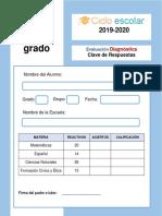 Examen Diagnostico Cuarto Grado 2019-2020-Respuestas