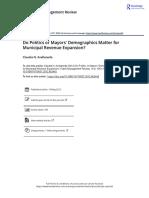 Do Politics or Mayors Demographics Matter for Municipal Revenue Expansion