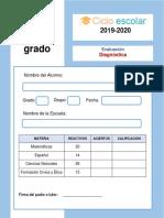 Examen Diagnostico Cuarto Grado 2019-2020