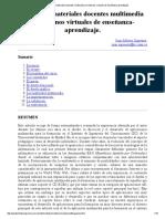 Diseño de Materiales Docentes Multimedia en Entornos Virtuales de Enseñanza-Aprendizaje