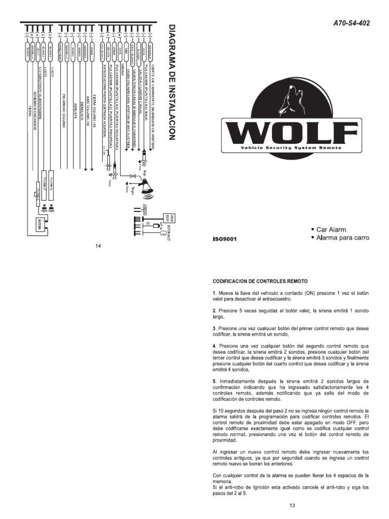Alarma Wolf Colt A70 s4 402 Manual