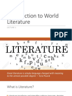 Lecture 1 -Introduction to World Literature