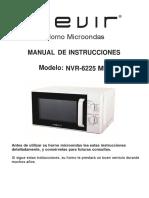 Manual horno microndas nevir nvr-6225