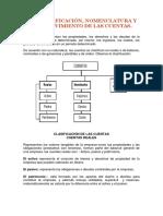CLASIFICACIÓN, NOMENCLATURA Y  MOVIMIENTO DE LAS CUENTAS.