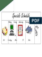 specials schedule 2019