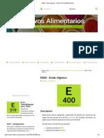 e400 - Ácido Algínico • Aditivos Alimentarios