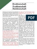 Drohbotschaft + Frohbotschaft = Heilsbotschaft