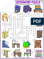 Furniture Vocabulary Esl Crossword Puzzle Worksheets for Kids