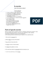 Parts of Speech Exercise