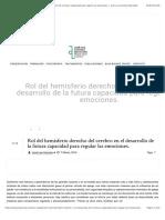 Rol Del Hemisferio Derecho Del Cerebro en El Desarrollo de La Futura Capacidad Para Regular Las Emociones.