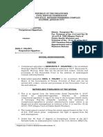 Appeal Memorandum -CSC (Celestra vs. Paulino)