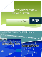 Alphabetizing Words in a Second Letter