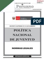 DECRETO SUPREMO N° 013-2019-MINEDU. DECRETO SUPREMO QUE APRUEBA LA POLÍTICA NACIONAL DE JUVENTUD.pdf