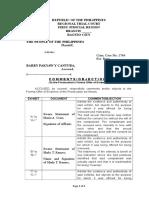 Sample Comment on Formal Offer of Evidence