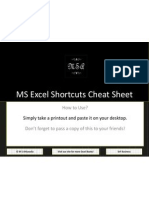 MS Excel Shortcuts Cheat Sheet