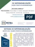 Sistemas de Impermeabilização NBR 9575 2010 Versão 2018 Petra Consultoria