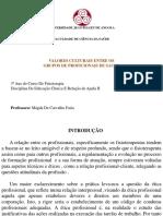 VALORES CULTURAIS ENTRE GRUPOS DE PROFICIONAIS DE SAUDE