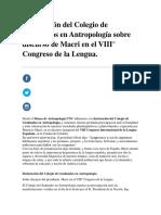 Declaración Del Colegio de Graduados en Antropología Sobre Discurso de Macri en El VIII