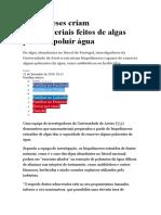 Portugueses Criam Nanomateriais Feitos de Algas Para Despoluir Água