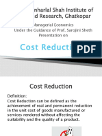 Cost Reduction With Case Study