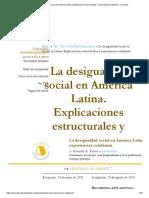 La Desigualdad Social en América Latina. Explicaciones Estructurales y Experiencias Cotidianas – Encartes