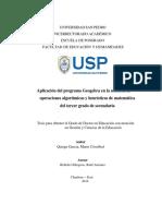 Aplicación del programa Geogebra en la solución de operaciones algorítmicas y heurísticas de matemática del tercer grado de secundaria