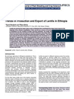 Trends in Production and Export of Lentils in Ethiopia