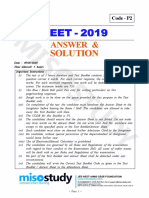 NEET Question Paper 2019 Code P2 Solution With Answer Key