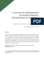 El Proceso de Administracion de Recursos Humanos
