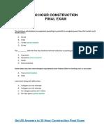 30 hour Construction Final Exam Answer Key