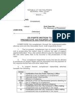 Exparte Motion to Prosecute as Pauper Litigant