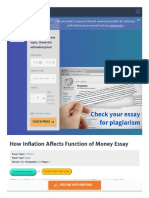 How Inflation Affects Function of Money Essay Example