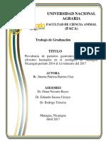 Prevalencia de Parásitos Gastrointestinales en Félidos Silvestres Hacinados en El Zoológico de Managua-Nicaragua Período 2014 Al 1er Trimestre Del 2017