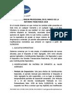 Nuestra Opinion Profesional en El Marco de La Reforma Tributaria 2018