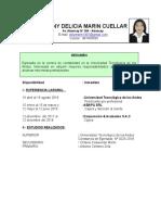 Curriculum Vitae Jhenny Delicia Marin