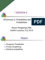 Statistika II Pertemuan 2 Probabilitas Dan Distribusi Probabilitas