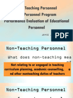 Non-teaching Personnel the Personnel Program Performance Eval