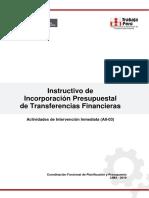 Instructivo de Incorporacion Presupuestal de Transferencias - 25 de Abril