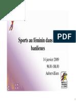 ACTES Journee Nationale Sport Au Feminin Dans Les Banlieues Aubervilliers 2009