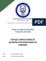 textiles conductores de algodon con nanotubos de carbono