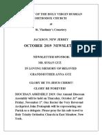 Nativity of the Holy Virgin Church - Newsletter - October, 2019