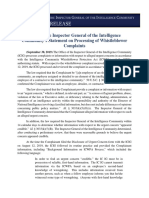 ICIG Statement on Processing of Whistleblower Complaints (30 Sep 2019)