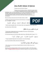 Berbagai Makna Kafir Dalam Al